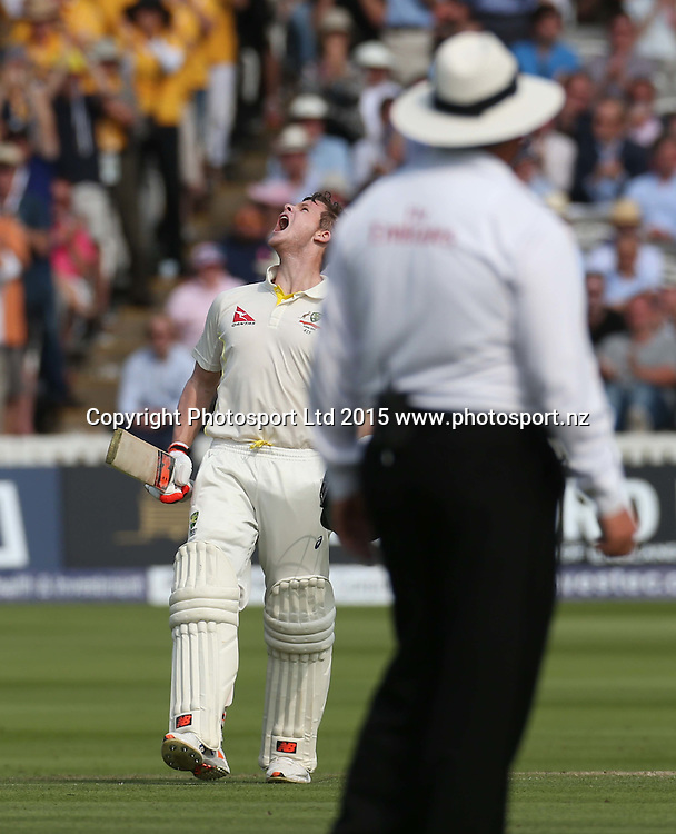 Steve Smith celebrates his century during the second Investec Ashes Test Match between England and Australia at Lord's Cricket Ground, London. Photo: Graham Morris/www.cricketpix.com (Tel: +44 (0)20 8969 4192; Email: graham@cricketpix.com) 16072015