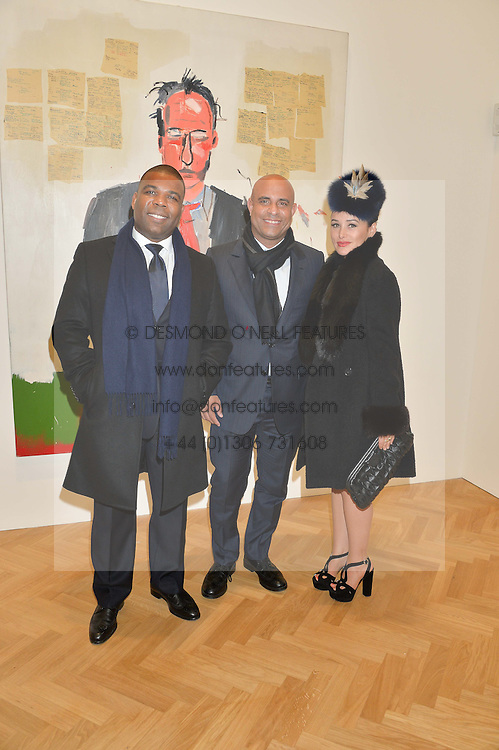 Left to right, JEAN PILLARD, LAURENT LAMOTHE Prime Minister of Haiti and KIM MURDOCH at the opening private view of 'A Strong Sweet Smell of Incense - A portrait of Robert Fraser, held at the Pace Gallery, Burlington Gardens, London on 5th February 2015.