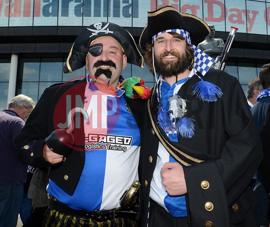 Bristol Rovers fans dressed as pirates - Photo mandatory by-line: Dougie Allward/JMP - Mobile: 07966 386802 - 17/05/2015 - SPORT - football - London - Wembley Stadium - Bristol Rovers v Grimsby Town - Vanarama Conference Football