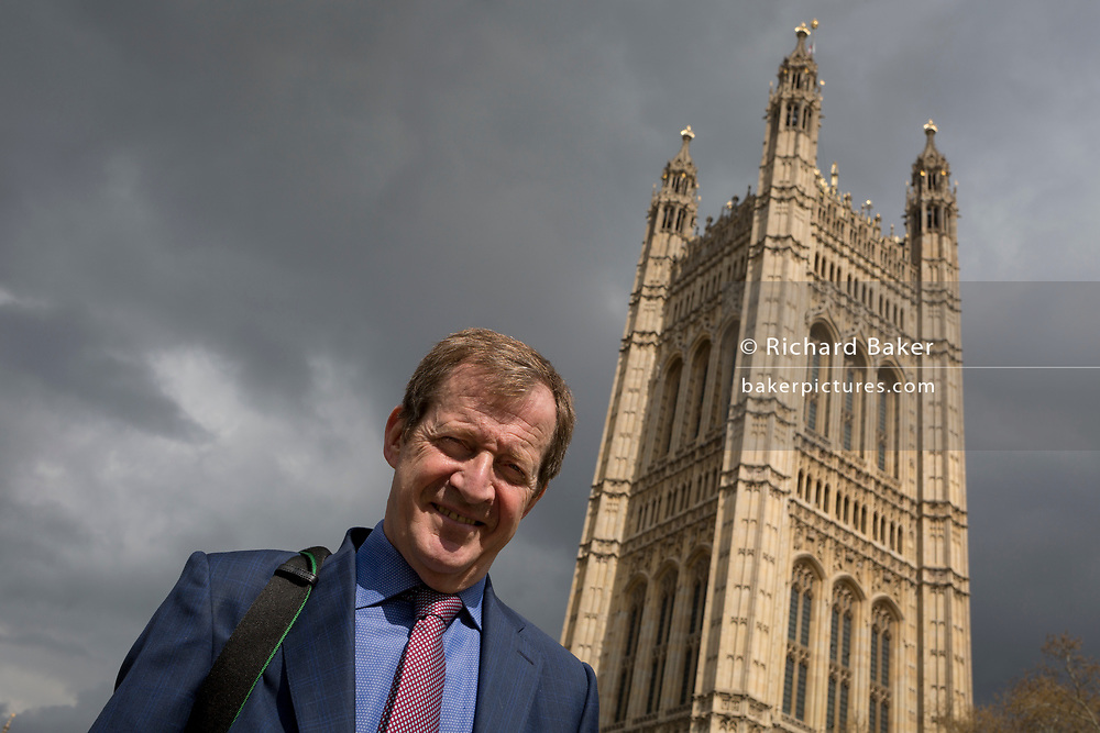 On the day that Prime Minister Theresa May meets with Labour leader Jeremy Corbyn in an attempt to break the Brexit deadlock in parliament, a portrait of Labour activist and former Tony Blair aide, Alistair Campbell beneath Parliament, on 3rd April 2019, in London, England.