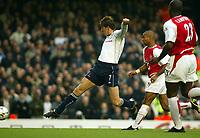 Photograph: Scott Heavey.<br />Arsenal v Tottenham Hotspur. FA Barclaycard Premiership. 08/11/2003.<br />Darren Anderton scores Tottenham's opener