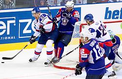 Branko Radivojevic of Slovakia vs Ales Kranjc of Slovenia during ice-hockey match between Slovakia and Slovenia of Group A of IIHF 2011 World Championship Slovakia, on April 29, 2011 in Orange Arena, Bratislava, Slovakia. Slovakia defeated Slovenia 3-1. (Photo By Vid Ponikvar / Sportida.com)