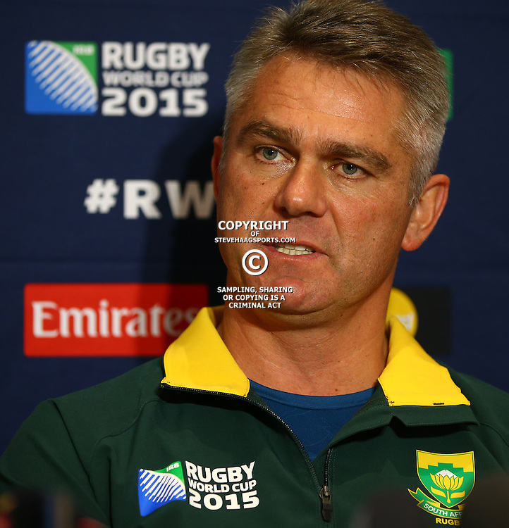 GATESHEAD, ENGLAND - SEPTEMBER 30: Heyneke Meyer (Head Coach) of South Africa during the South African national rugby team announcement at Hilton Newcastle Gateshead on September 30, 2015 in Gateshead, England. (Photo by Steve Haag/Gallo Images)