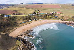 Aerial view of beach at Coldingham Bay in Scottish Borders, Scotland, United Kingdom