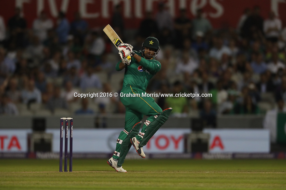 Pakistan's Sharjeel Khan batting.<br /> England v Pakistan, only T20 at Manchester, England. 7 September 2016.<br /> Pakistan won by 9 wickets (with 31 balls remaining).<br /> Copyright photo: Graham Morris / www.photosport.nz
