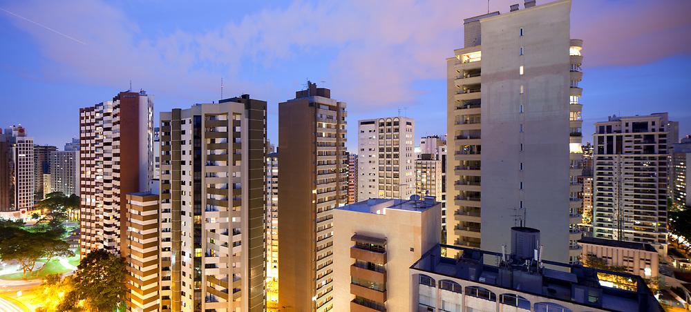 Panoramic view of Batel neighborhood and Praca do Japao (Japan Square),  Curitiba, Parana State, Brazil