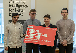 Scottish Conservatives leader, Ruth Davidson, visits the digital business, Company Net, in Edinburgh to mark national apprenticeship week.<br /> <br /> Pictured: L to R, Zain Hassan, Sean Robertson, Ruth Davidson, Adam Fisher
