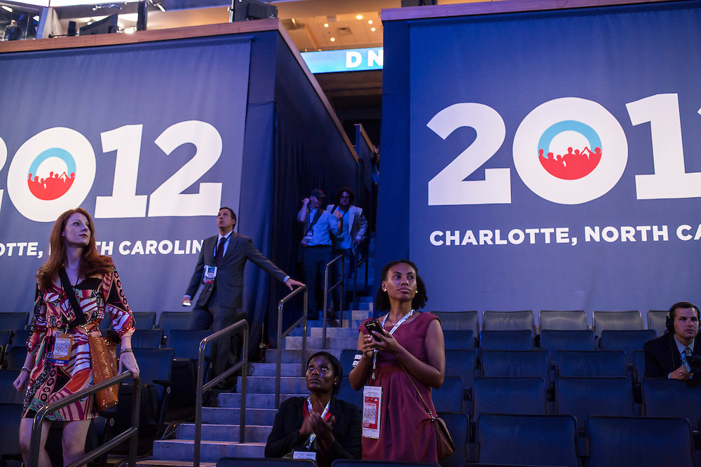 People enter the floor of the Time Warner Cable Arena for the Democratic National Convention on Tuesday, September 4, 2012 in Charlotte, NC.