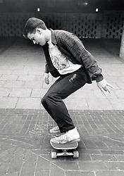 Teenage boy skateboarding Nottingham UK 1989