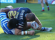 Cameron Smith of Leeds Rhinos scores the try against Halifax RLFC during the Super 8s The Qualifiers match at Mbi Shay Stadium, Halifax<br /> Picture by Stephen Gaunt/Focus Images Ltd +447904 833202<br /> 23/09/2018