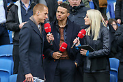 Steven Sidwell Jermaine Jenas and Lynsey Hipgrave from BT sport during the The FA Cup 5th round match between Brighton and Hove Albion and Derby County at the American Express Community Stadium, Brighton and Hove, England on 16 February 2019.
