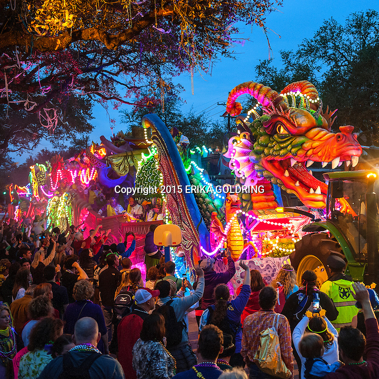 NEW ORLEANS, LA - FEBRUARY 16:  The Orpheus Leviathan dragon float with breathing smoke and fiber optic lighting rolls down Napolean Avenue in the 2015 Krewe of Orpheus Parade on February 16, 2015 in New Orleans, Louisiana.  (Photo by Erika Goldring/Getty Images)