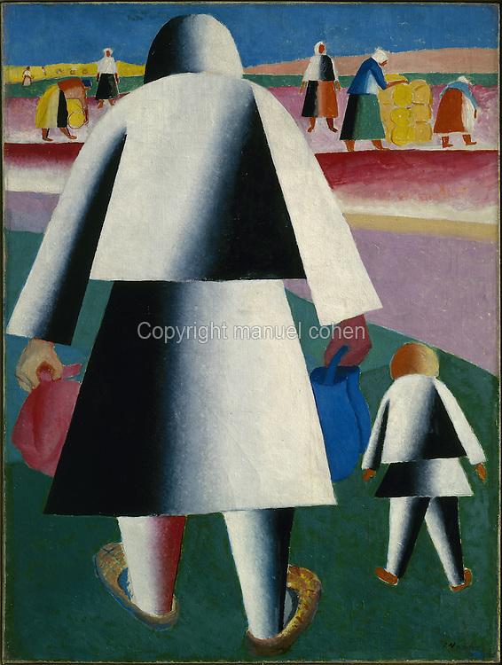 To the Harvest, Marfa and Wanka, 1928, oil on canvas, by Kasimir Malevich, 1878-1935, from the collection of the Russian State Museum, St Petersburg, Russia. Malevich was a Russian painter who founded the Suprematist art movement and produced many geometric abstract works. Picture by Manuel Cohen