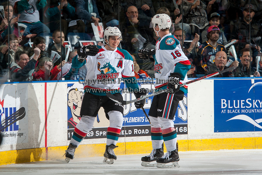KELOWNA, CANADA - JANUARY 7: Nick Merkley #10 and Kole Lind #16 of the Kelowna Rockets celebrate a first period goal against the Kamloops Blazers on January 7, 2017 at Prospera Place in Kelowna, British Columbia, Canada.  (Photo by Marissa Baecker/Shoot the Breeze)  *** Local Caption ***