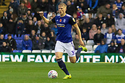Kristian Pedersen (3) brings the ball away during the EFL Sky Bet Championship match between Birmingham City and Fulham at the Trillion Trophy Stadium, Birmingham, England on 9 November 2019.