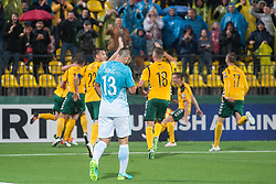 Players of Lithuania celebrates after Slivka scored second goal for Lithuania vs Jan Oblak of Slovenia during football match between National teams of Lithuania and Slovenia in Round #1 of FIFA World Cup Russia 2018 qualifications in Group F, on September 4, 2016 in LFF Stadium Vilnius, Lithuania. Photo by Robertas Dackus / Sportida