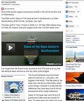 Royal Caribbean International's Oasis of the Seas Southampton visit cuttings.<br /> Telegraph 161014 website. (aerial vid)
