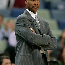16 March 2009: New Orleans Hornets coach Byron Scott watches from the bench near the end of a 95-84 loss by the New Orleans Hornets to the Houston Rockets at the New Orleans Arena in New Orleans, Louisiana.