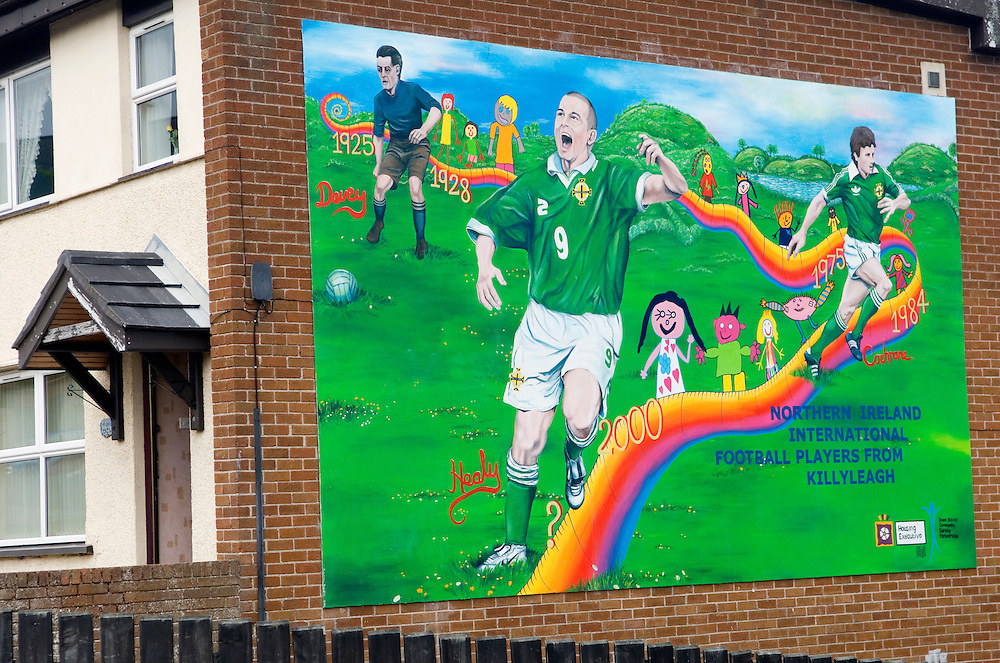 Killyleagh, County Down. Mural celebrates the town as birthplace of three Northern Ireland international footballers