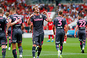 Leeds United forward Patrick Bamford (9) scores a goal and celebrates to make the score 0-2 during the EFL Sky Bet Championship match between Bristol City and Leeds United at Ashton Gate, Bristol, England on 4 August 2019.