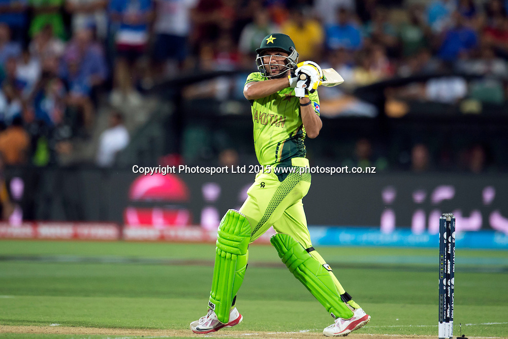 Pakistan batsman Shahid Afridi in action during the ICC Cricket World Cup match between India and Pakistan at Adelaide Oval in Adelaide, Australia. Sunday 15 February 2015. Copyright Photo: Raghavan Venugopal / www.photosport.co.nz