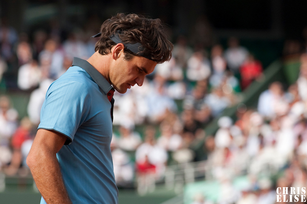 5 June 2009: Roger Federer of Switzerland is seen during the Men's Singles Semi Final match on day thirteen of the French Open at Roland Garros in Paris, France.