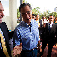 TAMPA, FL -- September 2, 2011 -- Republican presidential candidate, former Massachusetts Gov. Mitt Romney, greets staff and supporters at his new campaign headquarters in downtown Tampa, Fla., on Friday ,September 2, 2011 .