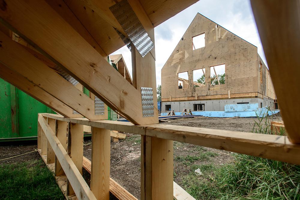 Canada, Edmonton. Aug/09/2013. McKernan Community League building renovation project. Roof framing and ibeam construction.