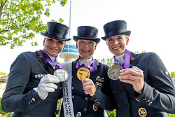 SCHNEIDER Dorothee (GER), WERTH Isabell (GER), VON BREDOW-WERNDL Jessica (GER)<br /> Rotterdam - Europameisterschaft Dressur, Springen und Para-Dressur 2019<br /> Medaillen <br /> Medal ceremony: Dressage Individual - Longines FEI Dressage European Championship- Grand Prix Freestyle<br /> Grand Prix Kür<br /> 24. August 2019<br /> © www.sportfotos-lafrentz.de/Stefan Lafrentz