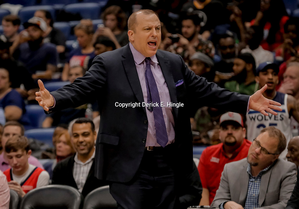 Dec 31, 2018; New Orleans, LA, USA; Minnesota Timberwolves head coach Tom Thibodeau reacts to an officials call during the second half against the New Orleans Pelicans at the Smoothie King Center. Mandatory Credit: Derick E. Hingle-USA TODAY Sports