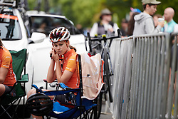 Kristabel Doebel-Hickok (USA) prepares for Stage 3 of 2020 Santos Women's Tour Down Under, a 109.1 km road race from Nairne to Stirling, Australia on January 18, 2020. Photo by Sean Robinson/velofocus.com