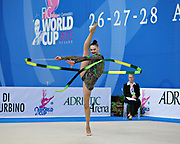 Alina Maksimenko during qualifying at ribbon in the Pesaro World Cup at the Adriatic Arena on 27 April, 2013.<br />