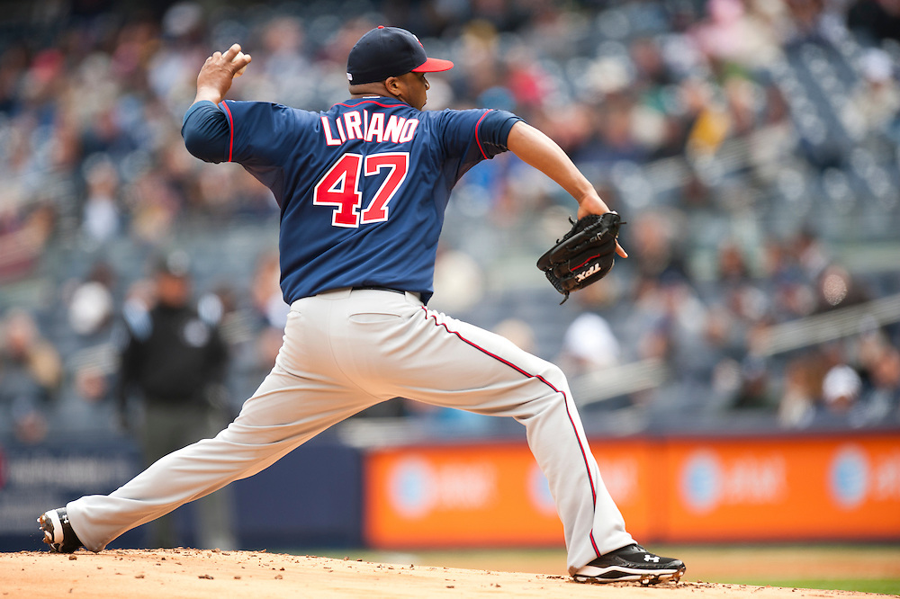 NEW YORK - APRIL 07: Francisco Liriano #47 of the Minnesota Twins pitches against the New York Yankees at Yankee Stadium on April 7, 2011 in the Bronx borough of Manhattan, the Yankees defeated the Twins 4 to 3. (Photo by Rob Tringali) *** Local Caption *** Francisco Liriano