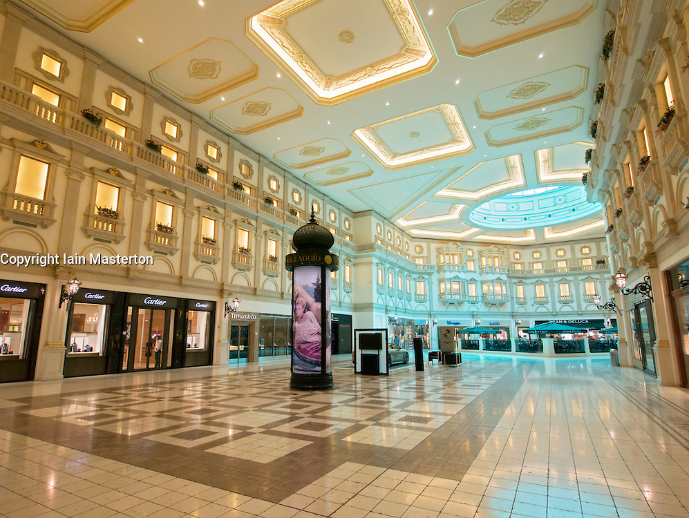 Interior of upmarket Villaggio shopping mall in Doha Qatar