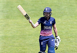 Sarah Taylor of England Women raises her bat after being caught out for a career best score of 147 - Mandatory by-line: Robbie Stephenson/JMP - 05/07/2017 - CRICKET - County Ground - Bristol, United Kingdom - England Women v South Africa Women - ICC Women's World Cup Group Stage