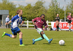 St John's NS Breaffy and St Angela's NS in action at the SPAR FAI Primary Schools 5's Connacht finals at Solar Park Mayo.<br />Pic Conor McKeown
