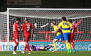 Accrington Stanley striker Josh Windass scores from the penalty spot during the Sky Bet League 2 match between Crawley Town and Accrington Stanley at the Checkatrade.com Stadium, Crawley, England on 26 September 2015. Photo by Bennett Dean.
