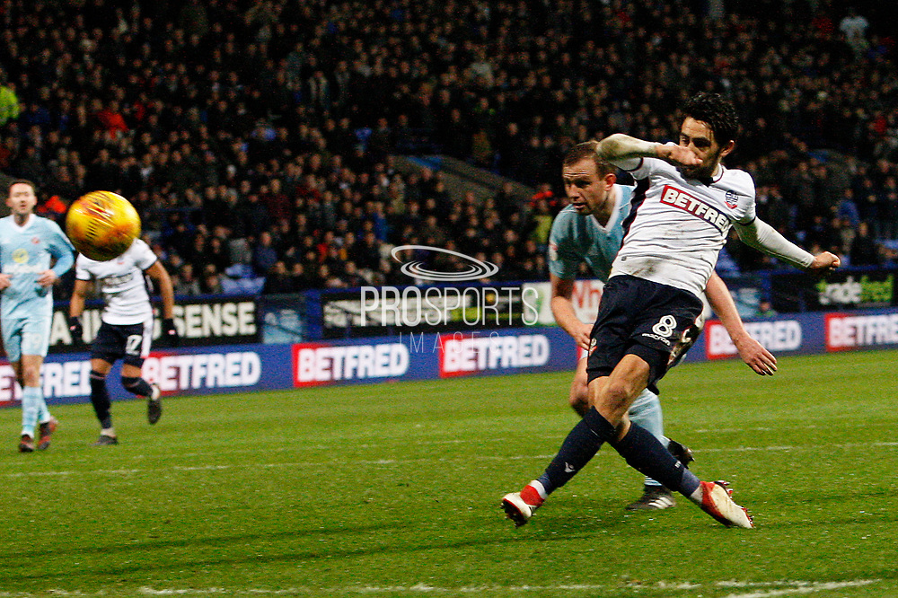 Bolton Wanderers midfielder Jem Karacan (8) gets a shot on target during the EFL Sky Bet Championship match between Bolton Wanderers and Sunderland at the Macron Stadium, Bolton, England on 20 February 2018. Picture by Craig Galloway.