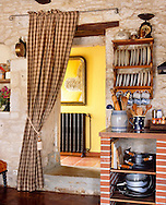kitchen entry in French country side stone house