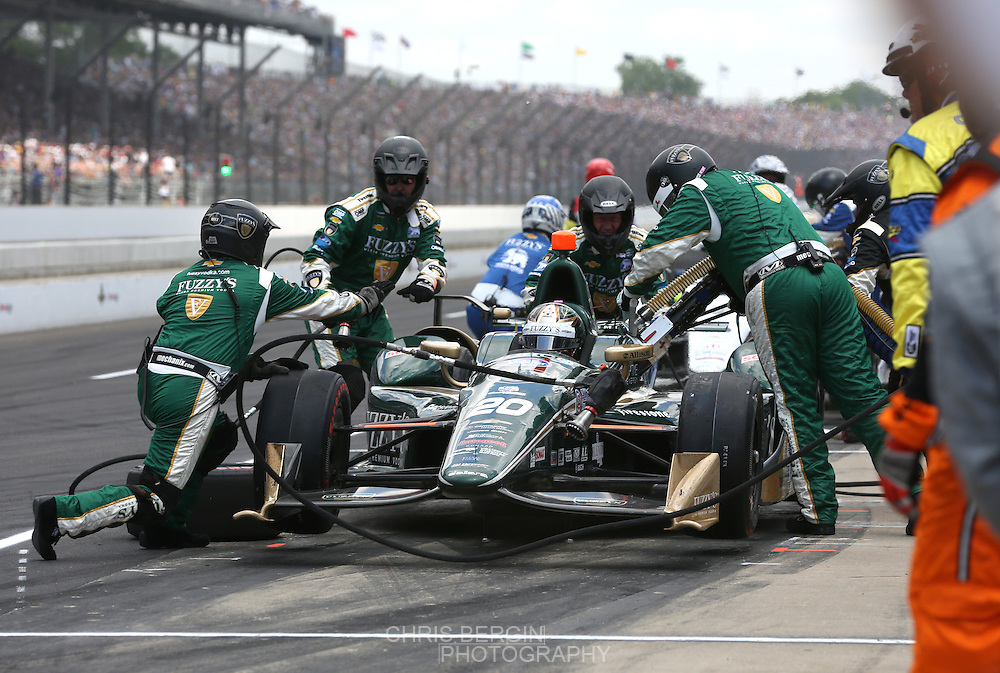 Ed Carpenter makes a pit stop during the 100th running of the Indianapolis 500 May 29, 2016.