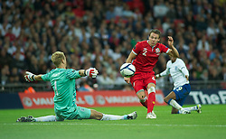 oLONDON, ENGLAND - Tuesday, September 6, 2011: Wales' Chris Gunter sees his shot saved by England's Joe Hart during the UEFA Euro 2012 Qualifying Group G match at Wembley Stadium. (Pic by Gareth Davies/Propaganda)