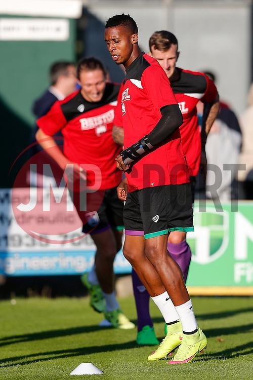 Jonathan Kodjia of Bristol City - Mandatory byline: Rogan Thomson/JMP - 07966 386802 - 30/07/2015 - FOOTBALL - Huish Park Stadium - Yeovil, England - Yeovil Town v Bristol City - Pre Season Friendly.