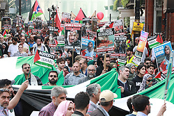 © Licensed to London News Pictures. 10/06/2018. London, UK. The annual Al Quds day march in support of the Palestinian cause, in central London. A counter demonstration by far-right and Zionest groups also takes place. Photo credit: Joel Goodman/LNP