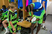 Forest Green Rovers Drissa Traoré(4) signs the mascots program during the EFL Sky Bet League 2 match between Forest Green Rovers and Exeter City at the New Lawn, Forest Green, United Kingdom on 9 September 2017. Photo by Shane Healey.