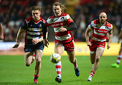 Billy Twelvetrees of Gloucester Rugby and Jason Woodward of Bristol Rugby give chase to the loose ball - Mandatory by-line: Dougie Allward/JMP - 24/03/2017 - RUGBY - Ashton Gate - Bristol, England - Bristol Rugby v Gloucester Rugby - Aviva Premiership