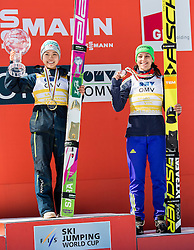 Overall World Cup winner in women classification Sara Takanashi (JPN) and third placed Maja Vtic (SLO) celebrate  during trophy ceremony after the Ski Flying Hill Individual Competition at Day 4 of FIS Ski Jumping World Cup Final 2016, on March 20, 2016 in Planica, Slovenia. Photo by Vid Ponikvar / Sportida