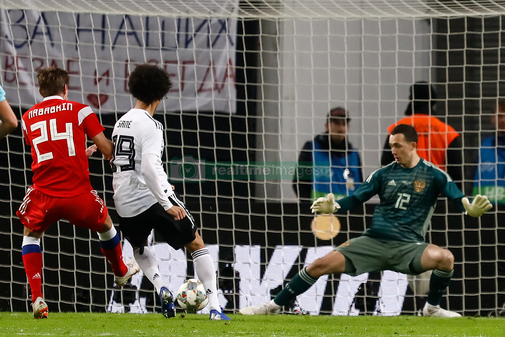 November 15, 2018 - Leipzig, Germany - Leroy Sane (C) of Germany scores a goal past Andrey Lunev (R) of Russia during the international friendly match between Germany and Russia on November 15, 2018 at Red Bull Arena in Leipzig, Germany. (Credit Image: © Mike Kireev/NurPhoto via ZUMA Press)
