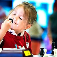 SERIE ROOKIE<br /> Nederland, Roosendaal, 20-06-2015.<br /> NK Schaken, Nationale Pupillendag, Categorie H.<br /> Dit 4-jarige schakertje heeft liefde voor het schaakstuk.<br /> Foto: Klaas Jan van der Weij