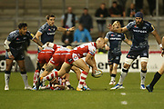 W Heinz (Capt) gets clean ball during the Aviva Premiership match between Sale Sharks and Gloucester Rugby at the AJ Bell Stadium, Eccles, United Kingdom on 29 September 2017. Photo by George Franks.