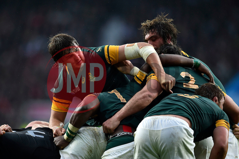 Lood de Jager of South Africa in action at a maul - Mandatory byline: Patrick Khachfe/JMP - 07966 386802 - 24/10/2015 - RUGBY UNION - Twickenham Stadium - London, England - South Africa v New Zealand - Rugby World Cup 2015 Semi Final.